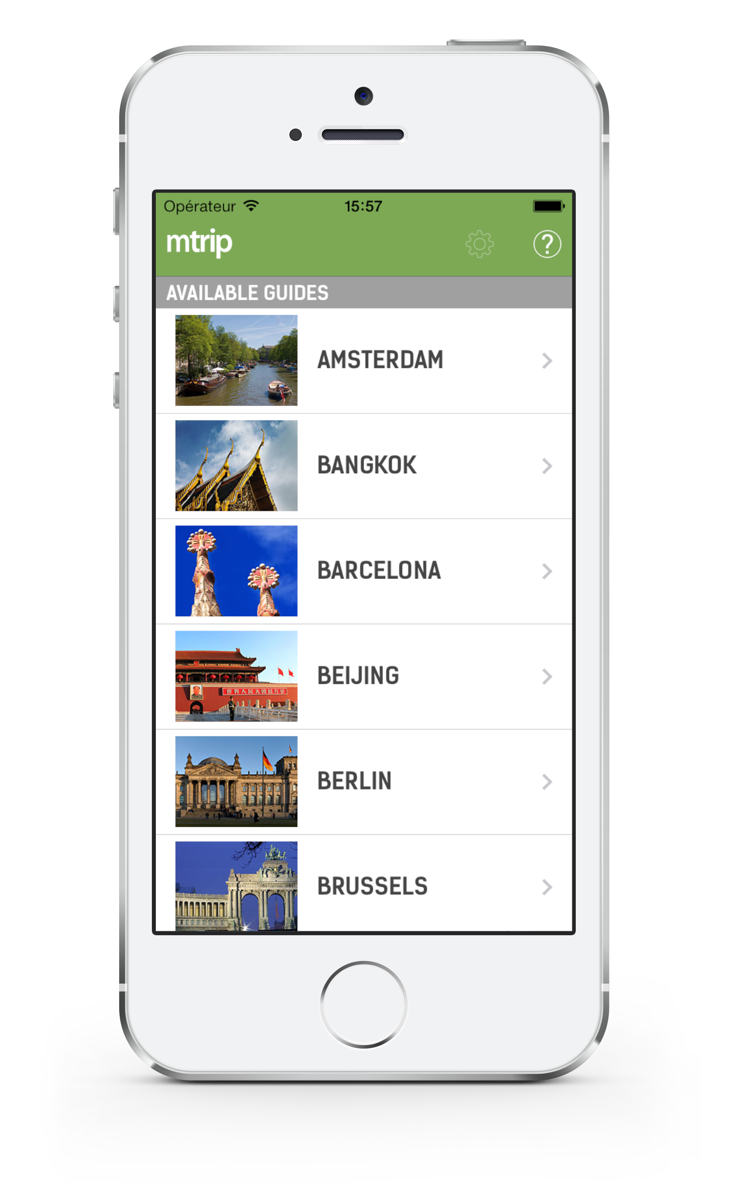 mTrip main screen